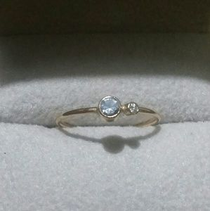 Sz 5.5 ~ dainty 14kgf aquamarine/moissanite ring